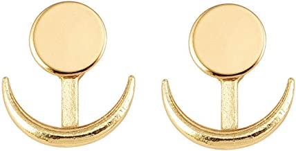 RUIZHEN Simple Cresent Moon Double Horn Disc Coin Ear Jacket Stud Earrings