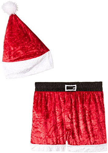 INTIMO Men's Velour Holiday Boxers with Hat, Red, X-Large