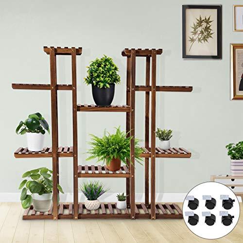 Scaffale per fiori in legno a 6 diritti, a più piani, in legno, con ruote, per interni, soggiorno, esterni, giardino, 114 x 25 x 116 cm