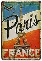 ヴィンテージルックレプリカメタルサインパリフランス面白いメタルサインメタルサイネージ壁の装飾ガレージショップバーリビングルームウォールアートポスター穴あけ簡単穴
