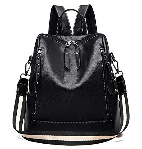YPuzro Moda mochila monedero para las mujeres cuero pequeño trabajo bolso de mano adolescentes niñas escuela bolsas negro - negro - Talla única