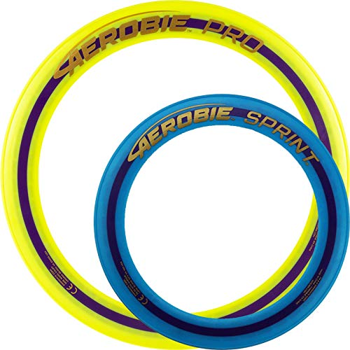 Aerobie Pro Wurfring Sprint Frisbee Ring Wurfspiel Set Pro Sprint Ring (Gelb / Blau)