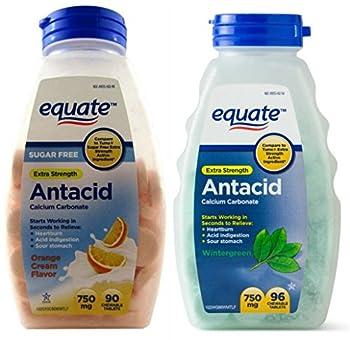 Sugar Free Antacid Orange Cream Flavor + Extra Strength Chewable Wintergreen Tablets   Equate 750 mg
