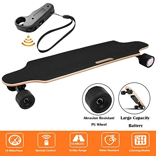 Aceshin Youth Electric Skateboard Electric Longboard 12 MPH Top Speed, 250W Motor,7 Layers Maple Motorized Longboard with Remote Control Gift for Adult Teens E-Skateboard (Black)