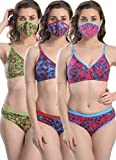 FIMS - Fashion is my style Women Cotton Bra Panty Set for Women Lingerie Set Floral Printed Undergarments Regular Use Bra Panty Pack of 3 Bras & 3 Panties 3 Cotton Free Mask Reusable Mask Size-38