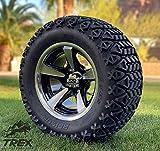 12' BULLITT MACHINED/BLACK ALUMINUM WHEELS AND 23X10.5-12 DOT ALL TERRAIN TIRES COMBO - SET OF 4 (Standard Lugs (EZ-GO, Club Car))