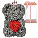 Rose Bear,Rose Teddy Bear -Over 250+ Flowers on Every Rose Bear Perfect for Mother's Day, Valentine's Day, Anniversary, Wedding, Birthday Party-Clear Gift Box Included, 10 Inches (Gray)