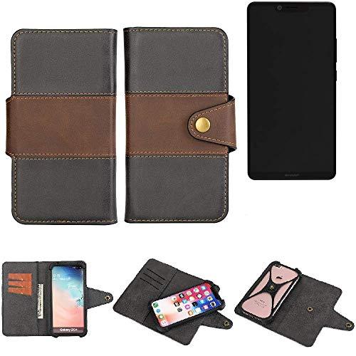 K-S-Trade® Handy-Hülle Schutz-Hülle Bookstyle Wallet-Case Für Sharp Aquos D10 Bumper R&umschutz Schwarz-braun 1x