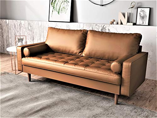 Container Furniture Direct Orion Mid Century Modern PU Leather Upholstered Living Room Loveseat with Bolster Pillows, 69.68' Brown