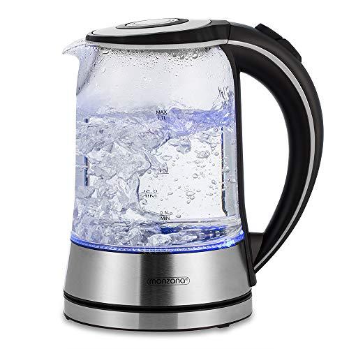 Wasserkocher Edelstahl Teekocher 1,7L LED Beleuchtung kabellos Kocher Überhitzungsschutz 2200W BPA frei Glas Kalkfilter