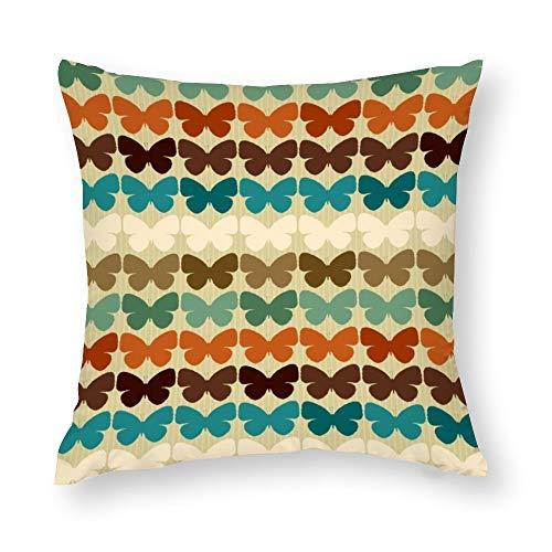 YY-one Fundas de almohada decorativas sin costuras con diseño de mariposas en estilo retro, funda de cojín de algodón para sofá, silla, cuadrado, 45,7 x 45,7 cm