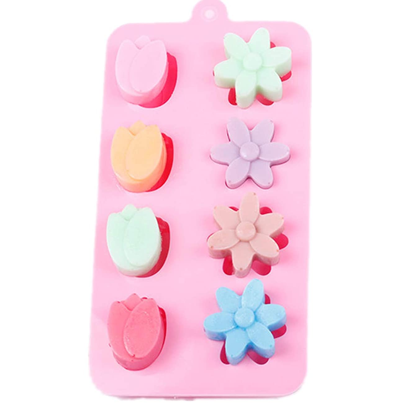Amaping 15 Cavity Tulips Flower Pattern Silicone DIY Chocolate Ice Cube Mold for Cookie Sugar Candy Jelly Soap Baking Tray Cupcake Mold (Pink)