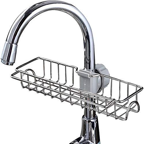 Acero inoxidable grifo de drenaje estante de almacenamiento soporte de la cocina del hogar baño herramientas de almacenamiento