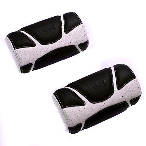 LANBO NECK PAD TYPE VOID (2個セット)ブラックレザー×ホワイトステッチ ネックパッド 汎用 プリウス 50系 ...