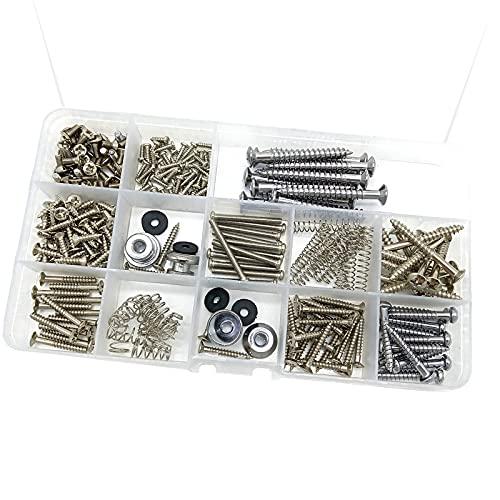 freneci Kit de tornillos de guitarra con resortes con caja de almacenamiento acrílica Kit de bricolaje de guitarra para, interruptor, placa de cuello, plata