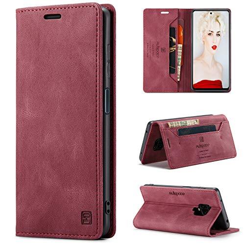 CaseNN Funda para Xiaomi Redmi Note 9 Pro/Redmi Note 9S Carcasa con Tarjetero Fundas Tapa Libro de Cuero PU para Mujeres Hombres Premium Magnético Suporte con Bloqueo RFID Silicona - Vino Tinto