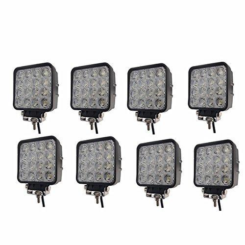MCTECH 8 X 48W Quadrat LED Offroad Flutlicht Reflektor Scheinwerfer Arbeitslicht SUV, UTV, ATV Arbeitsscheinwerfer Zusatzscheinwerfer Offroad Scheinwerfer 12V 24V Rückfahrscheinwerfer