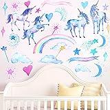 2Pcs Pegatinas de Pared Unicornio Princesa Decorativos Decorativos Infantiles Arcoíris Adhesivos Pared Habitacion Niña Infantiles Niños Bebés Dormitorios,25*70cm