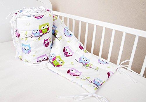 Bettumrandung Nest Kopfschutz Nestchen 420x30cm, 360x30cm, 180x30 cm Bettnestchen Baby Kantenschutz Bettausstattung Eule weiß (420x30cm)