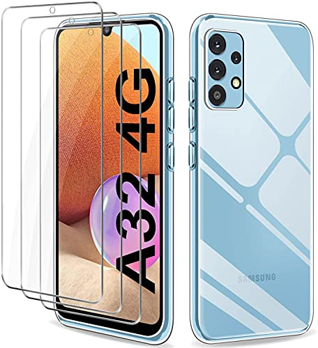 YNMEacc Cover Compatibile con Samsung Galaxy A32 4G con 3 Pezzi Pellicola Vetro Temperato, Custodia Ultra Trasparente Silicone Morbida TPU Antiurto Smartphone Case