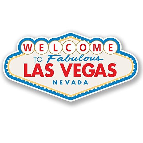 Vinyl-Aufkleber, Motiv: Las Vegas, für iPad, Laptop, Reisegepäck, Geschenkidee #4349, 10 cm breit x 5,2 cm hoch, 2 Stück