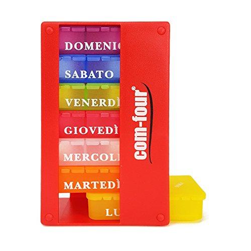 com-four® 1x Dispenser medicamenti in Italiano - Box medicamento per 7 Giorni - 3 Scomparti ciascuno - Box portapillole - portapillole - Box Tablet - Dispenser settimanale [Italian] (Rosso)