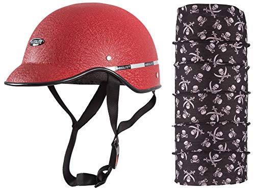 Autofy Habsolite All Purpose Safety Helmet with Strap for bikes (Red, Free Size) and Autofy Pirate Skull Print Lycra Headwrap Bandana for Bikes (Black and White, Free Size) Bundle
