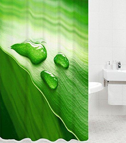 Duschvorhang Green Leaf 180 x 180 cm, hochwertige Qualität, 100prozent Polyester, wasserdicht, Anti-Schimmel-Effekt, inkl. 12 Duschvorhangringe