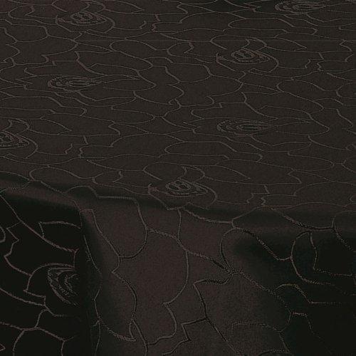 Zilveren tafelkleed, tafelkleed, tafellinnen, damast, polyester, zwart, rozen, reliëf, 160 cm, rond