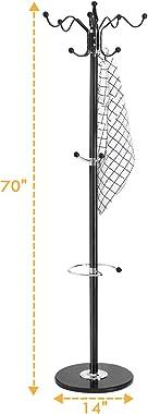 "Tangkula 70"" Metal Coat Tree, Coat Racks with 14 Hooks, Hat Jacket Stand Tree Holder Hanger Rack w/Marble Base (Black)"