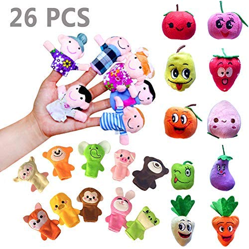 Sealive 26 Pcs Finger Puppets for Toddlers Kids Adults, Farm Animals & Family