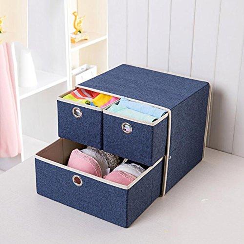 Xuan - Worth Another Boîte de Stockage de Finition de boîte de Rangement sous-vêtements de Bleu Marine de tiroir (31.5 * 26.5 * 26.5)
