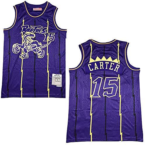 xiaotianshi Jerseys Men's - Raptors # 15 Vince Carter Carter Tela Transpirable Fresca Resistente al Desgaste Transpirable Vintage Basketball Jerseys,Púrpura,L