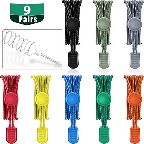 WILLBOND 9 Pairs No Tie Elastic Shoelaces Adjustable Lock Tieless Shoe Laces for Sneakers(Assorted Colors)