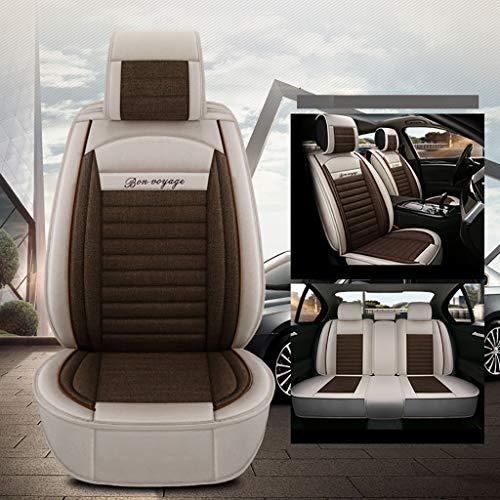 MKJYDM Funda for el Asiento del automóvil de Cuatro Estaciones, Almohadilla Compatible con la Funda del Asiento del airbag Delantero y Trasero, 5 Asientos, Ropa de Cama Universal Completa Cubierta de