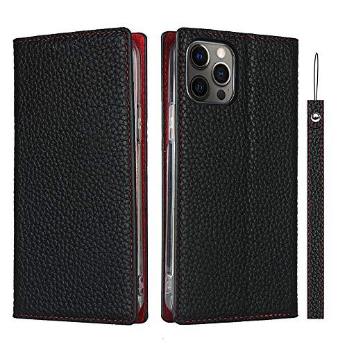 iPhone 12 Pro Max ケース 手帳型 アイフォン 12 pro max カバー Zouzt 牛革 本革レザー 本皮 ストラップ付き ヘッドフォンケーブルベルト付き カード収納 スタンド マグネット 耐衝撃 おしゃれ 6色 ブラック