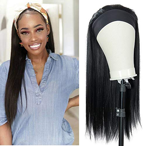 Headband Wigs for Black Women Long Straight Headband Wigs,Synthetic Wigs with Headband, Natural Looking Daily Party Wigs (straight 1#, 24inch)