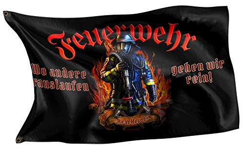 Original RAHMENLOS® Design-Flagge: Deutschland-Fahne Feuerwehr - Real Heroes