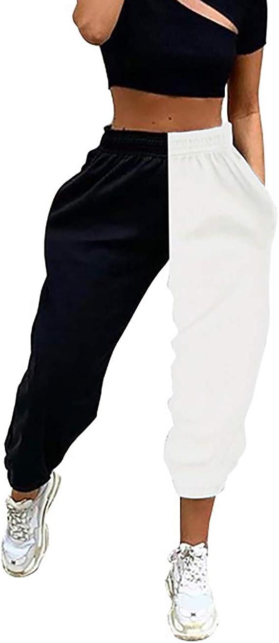 Time sale MISSACTIVER Women Contrast Color Sweatpants Detroit Mall Elastic Baggy Jogger