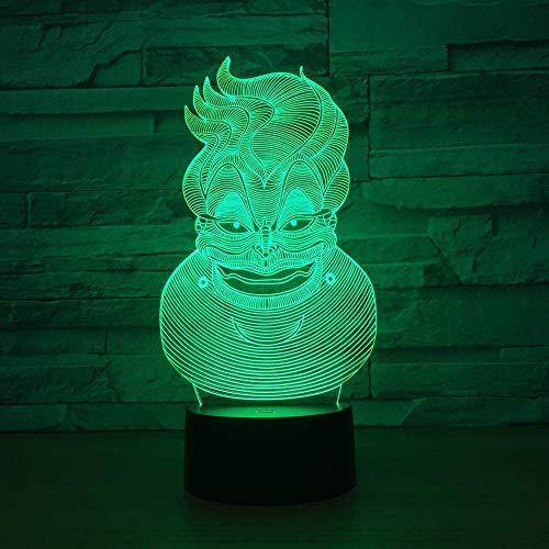 Payaso abstracto 3D Led Ilusión óptica Luz nocturna inteligente, 7 colores que cambian USB Interruptor táctil de alimentación Lámpara de decoración Mesita de noche Lámpara de escritorio Regalo de