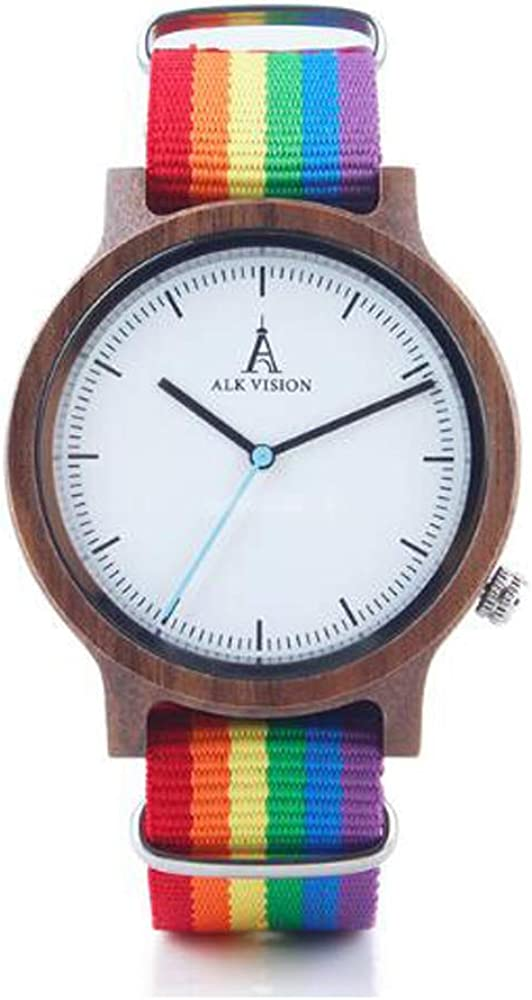 Pride service Rainbow Wood Watches Brand Women with Watch Ca Mens Wooden 100% quality warranty
