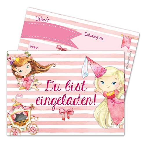 Papierdrachen 12 Einladungskarten zum Kindergeburtstag für Mädchen - Motiv Prinzessin - Geburtstagseinladungen für Deine Geburtstagsparty (DIN A6 mit abgerundeten Ecken)