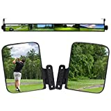HKOO Newest Golf Cart 4 Panel Mirror and Folding Side Mirrors, Universal Golf Cart Mirrors Panoramic Rear View Mirrors 35.8' Fits for Club Car EZGO Yamaha Combo Pack