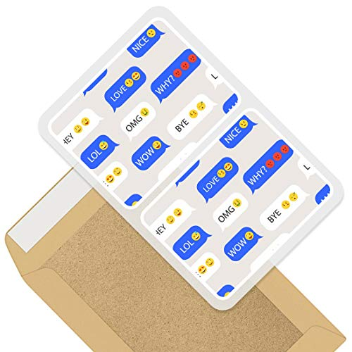 Rectangle Stickers (Set of 2) 10cm - Speech Bubble Emoji Faces Emoticons Decals for Laptops,Tablets,Luggage,Scrap Booking,Fridges, 46323
