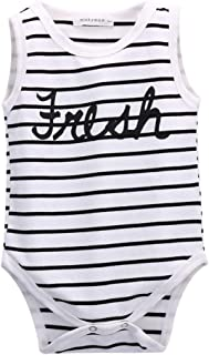 Krastal Baby Boy Clothes100% Cotton Crew Neck Tank Stripe Print Romper Baby Boysuit