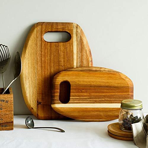 Decoración del hogar- Natural Madera de Acacia rectángulo Tablas for cortar Bandeja del postre bloque que taja de la tarjeta de corte con mango de herramienta de la cocina casera de la decoración Deco