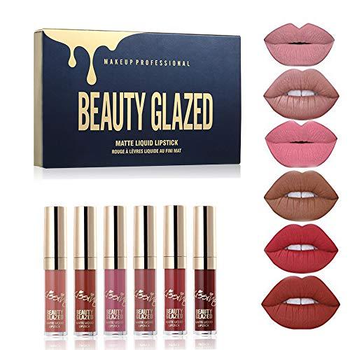 BEAUTY GLAZED 6 Stück/Set Flüssiger Lipgloss Professionelles Lippen-Make-up-Werkzeug Samtmatt Feuchtigkeitsspendende feuchtigkeitsspendende nahrhafte Lippenstift-Kit