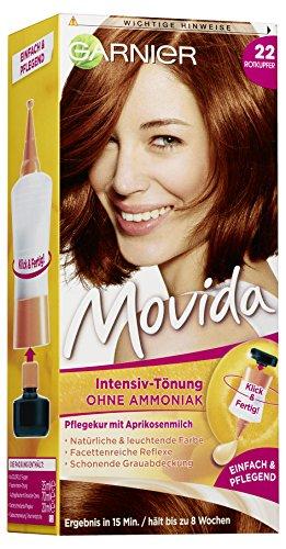 Garnier Tönung Movida Pflege-Creme, Intensiv-Tönung Haarfarbe 22 Rotkupfer (für leuchtende Farben, auch für graues Haar, ohne Ammoniak) 3er Pack Haarcoloration-Set