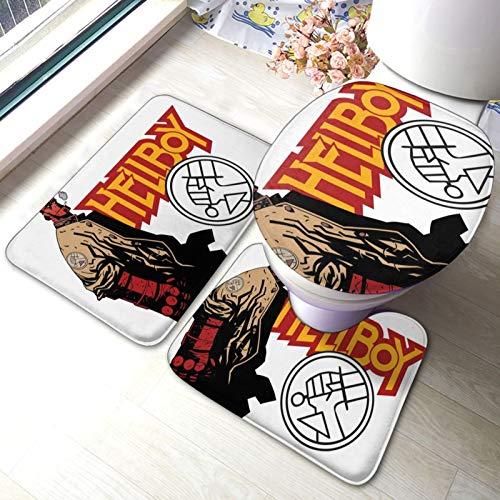 Hell-Boy - Juego de alfombrillas de baño y alfombra de inodoro en forma de U con parte inferior adhesiva antideslizante para suelo, bañera, ducha, dormitorio, lavable a máquina