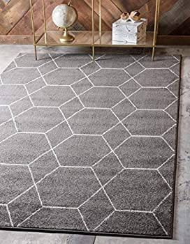 Unique Loom Trellis Frieze Collection Lattice Moroccan Geometric Modern Area Rug 9 x 12 Feet Dark Gray/Ivory